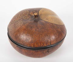 Japanese Lacquer Covered Gourd with Leaf Decoration