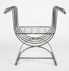 Neoclassical Style Iron Curule Form Benches