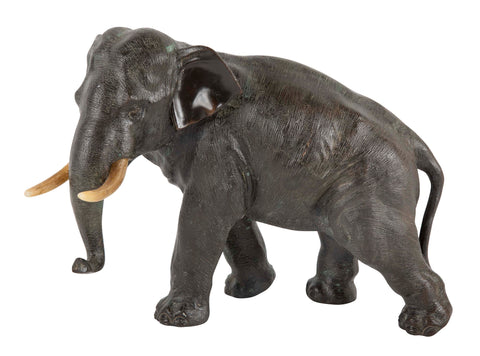 Signed Japanese Meiji Period Bronze Elephant