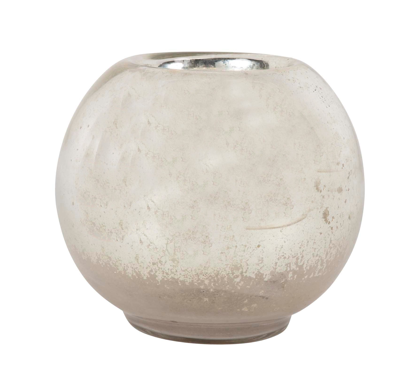 A Spherical Form Mercury Glass Vase