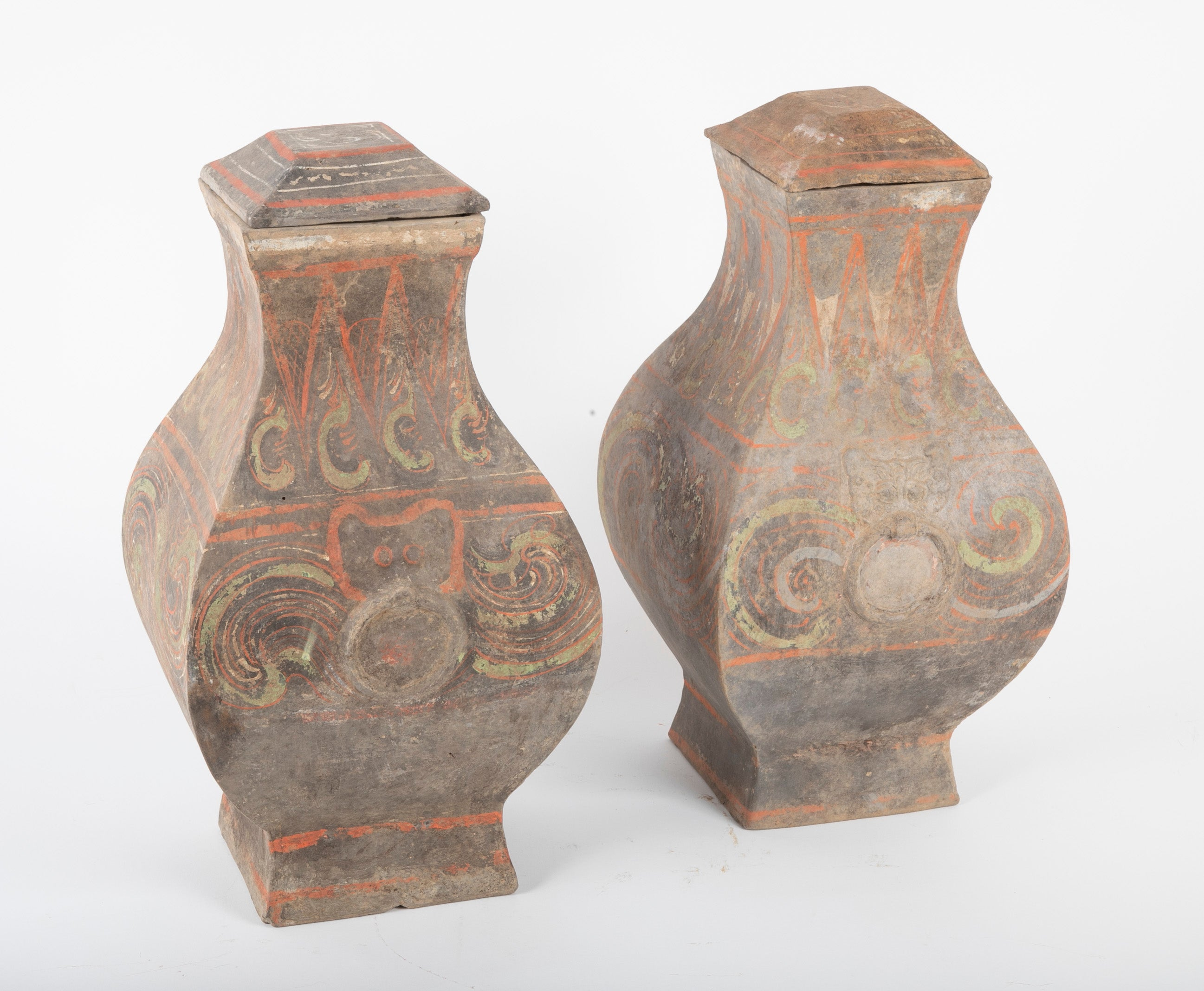 Two Fang Hu Terracotta Han Era Wine Storage Vessels
