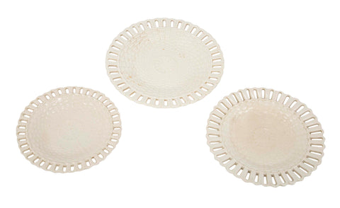 Set of Three Graduated Wedgwood Basket Weave Plates