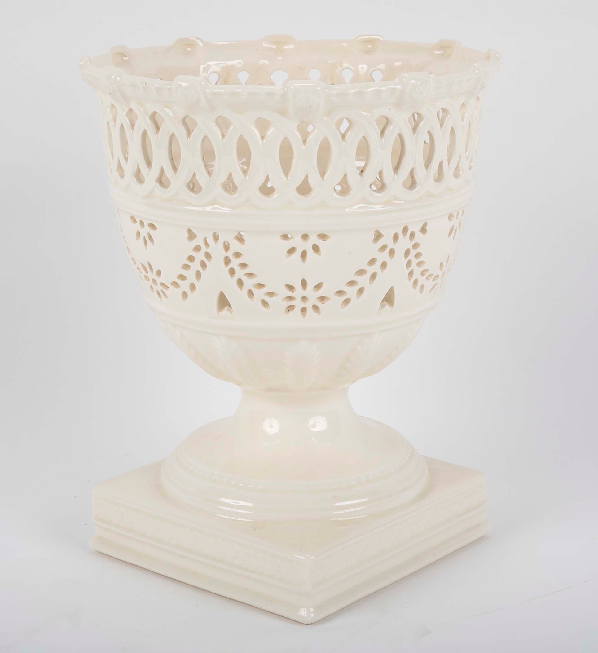 A Leeds Reticulated Creamware Urn