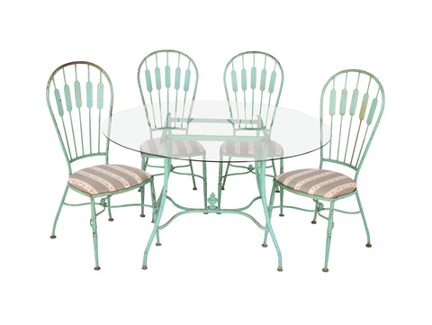 19th Century French Iron Glass Top Dining Table with Four Matching Chairs