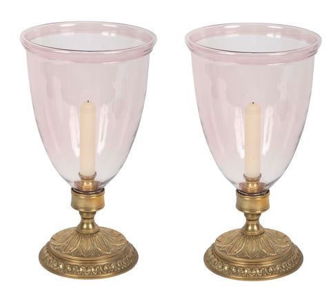 Pair of Pink Glass Hurricane Shades on Bronze Bases