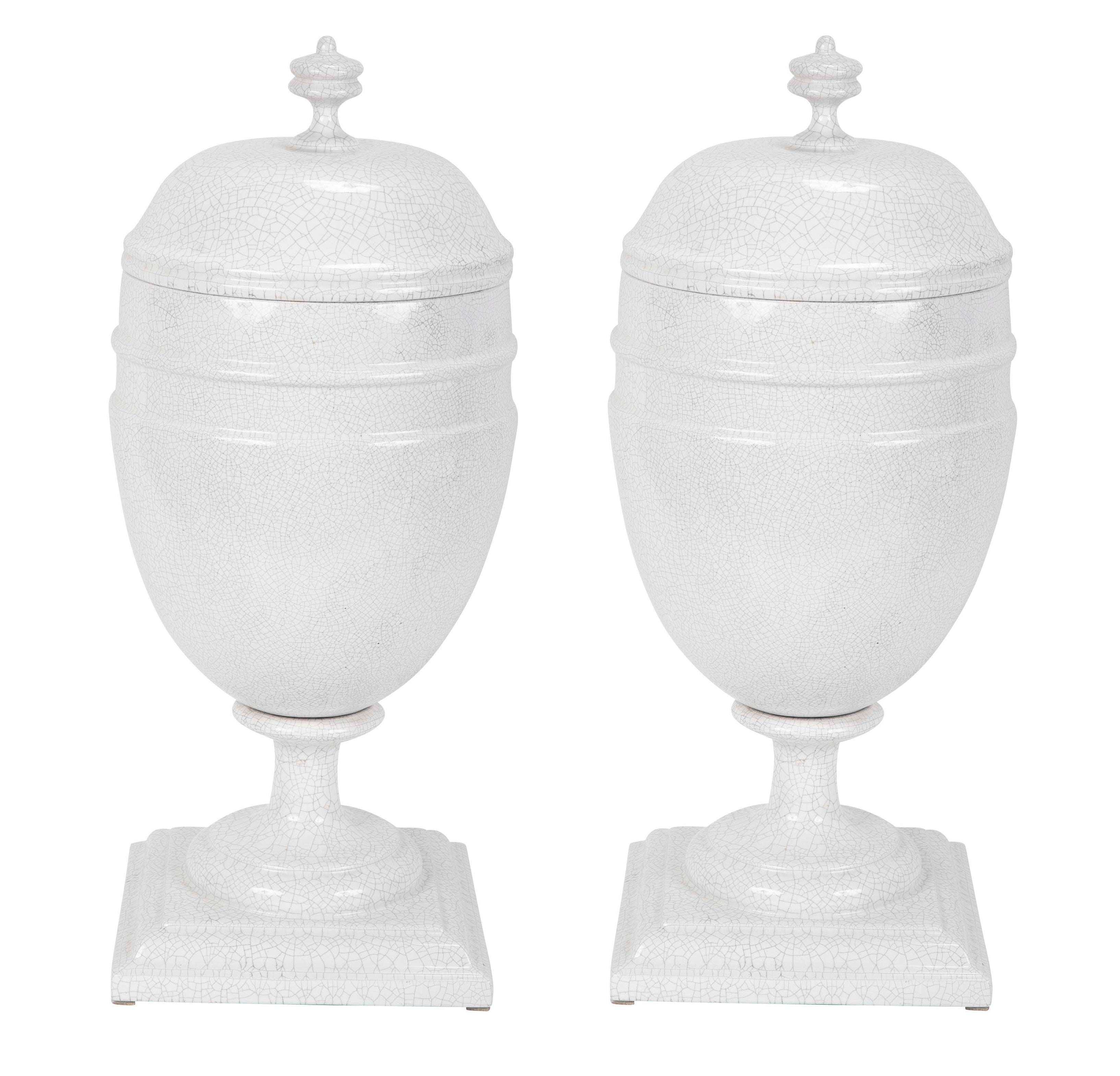 Pair of French Crackle Glaze Covered Urns