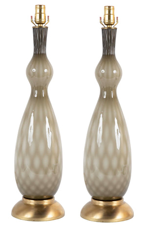 A Pair of Mid-Century Murano Glass Lamps with Brass Bases