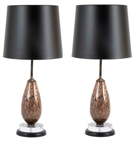 Pair of Murano Glass Lamps of Brown with Gold Specks