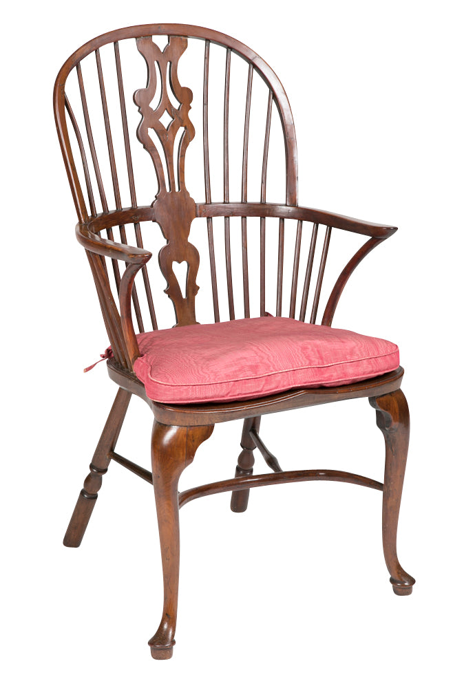 English Yew Wood Queen Anne Windsor Armchair