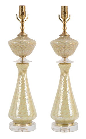 Pair of Mid-Century Murano Glass with Brass Bases.