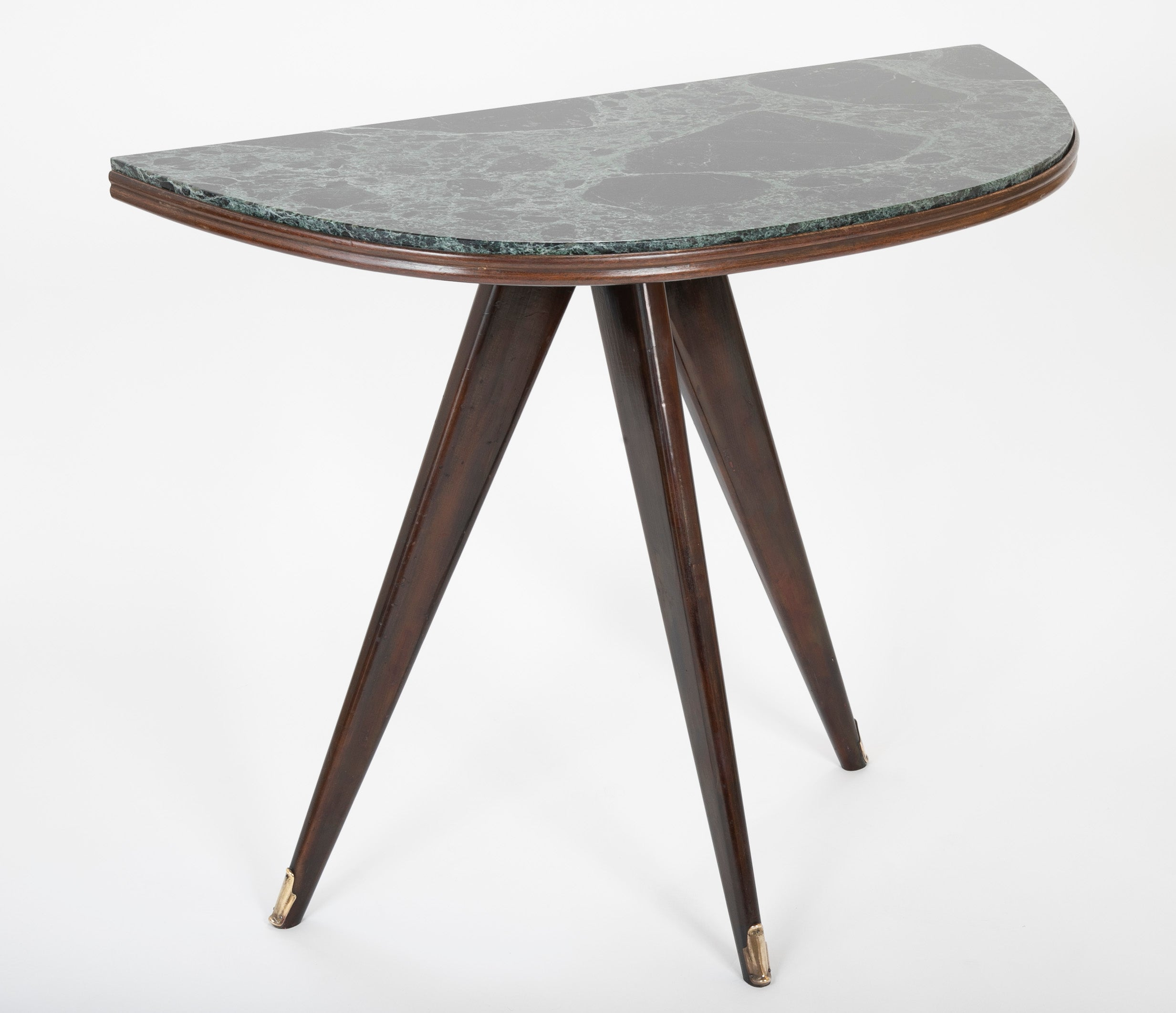 Pair of Mid-Century Italian Demilune Tables with Breccia Marble Tops