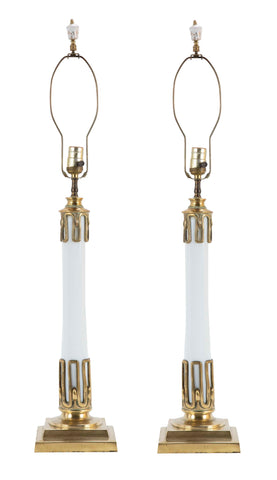 Art Deco Style Pair of White Opaline Glass & Bronze Lamps