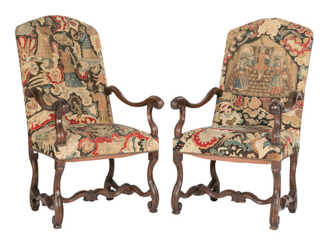 Set of Six Tapestry Upholstered Louis XIV Mouton Armchairs