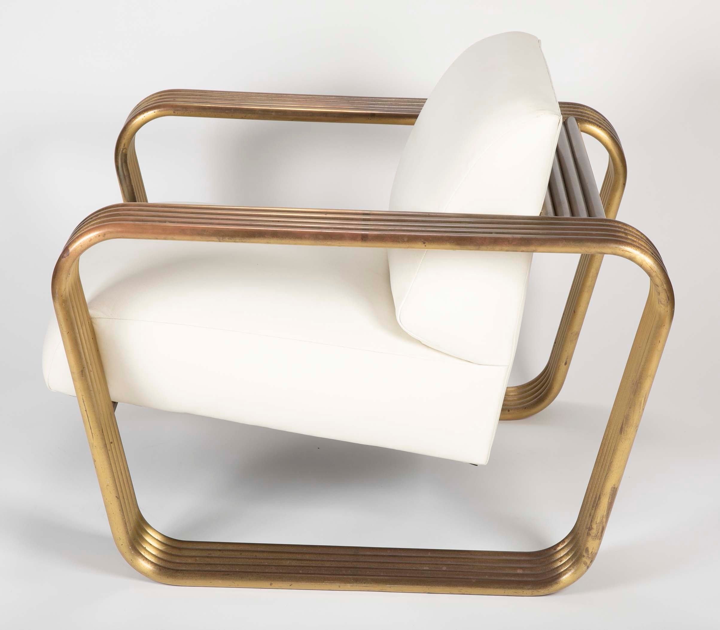 Gilt Metal and Leather Lounge Chair by Jay Spectre