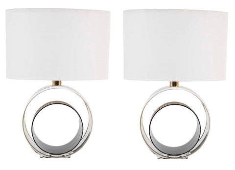 Pair of Italian Mid-Century Lucite Lamps Infused with Aluminum