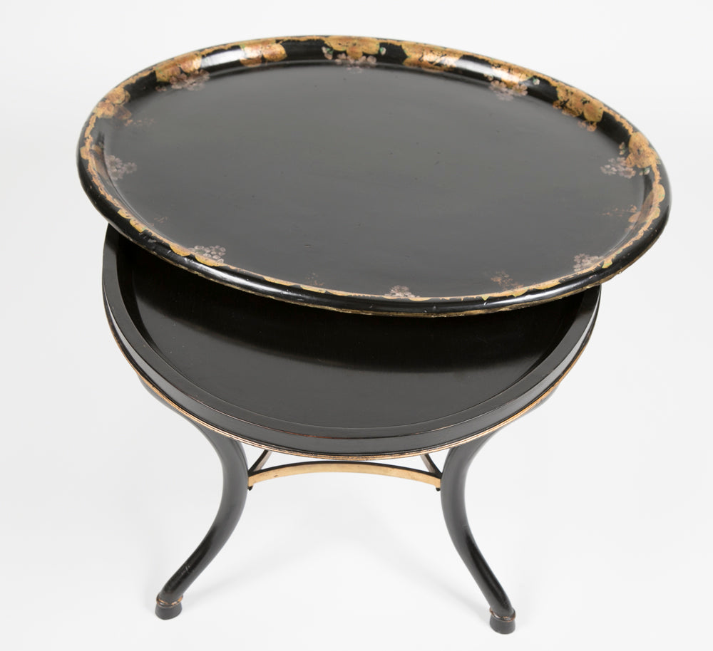 Gilt and Lacquered Papier Mache Tray on Stand