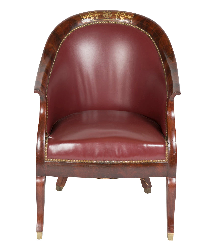 Merveilleux Pair Of Empire Mahogany Brass And Rosewood Inlaid Gondola Chairs