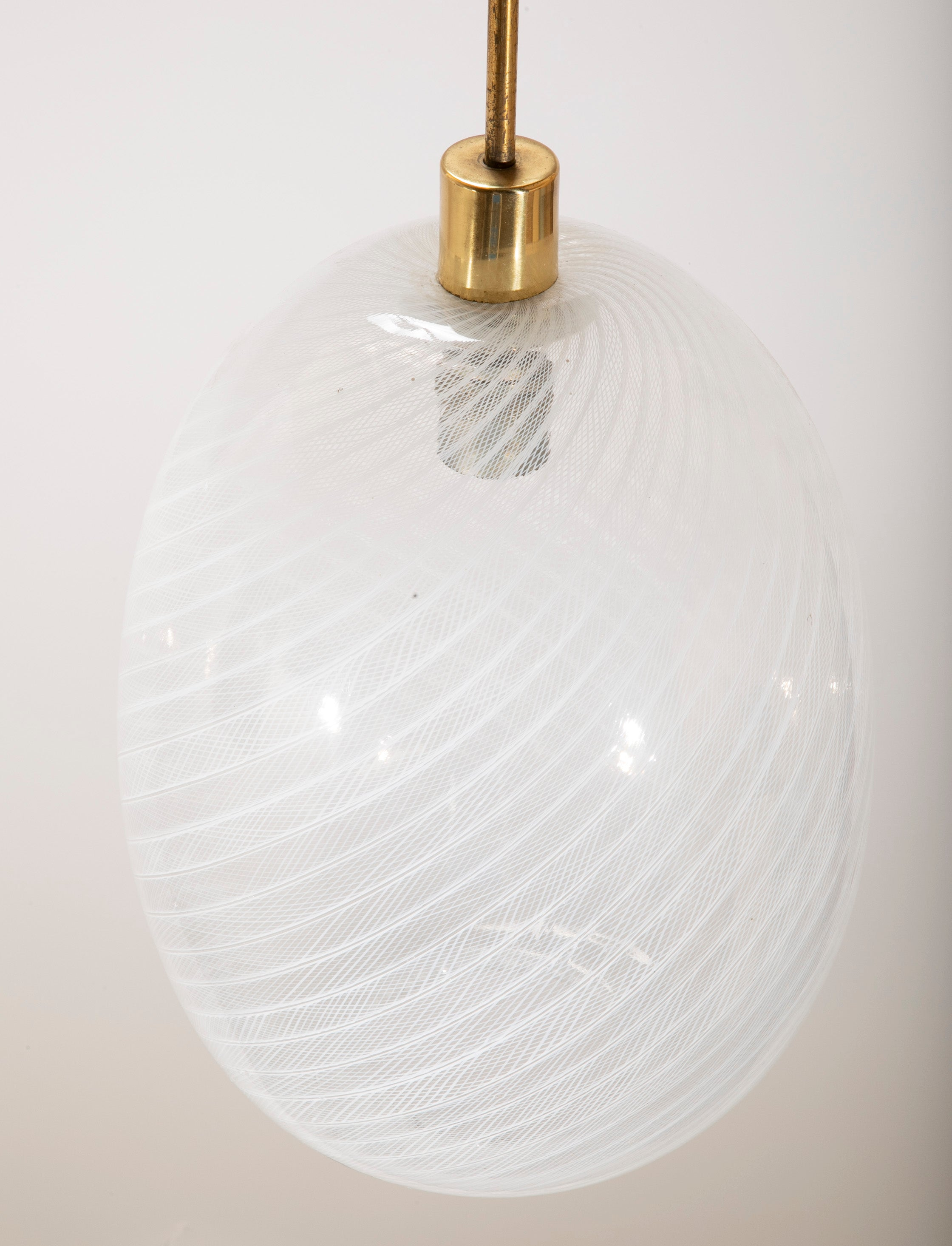 Reticello Glass and Brass Lantern by Venini, Murano, circa 1955