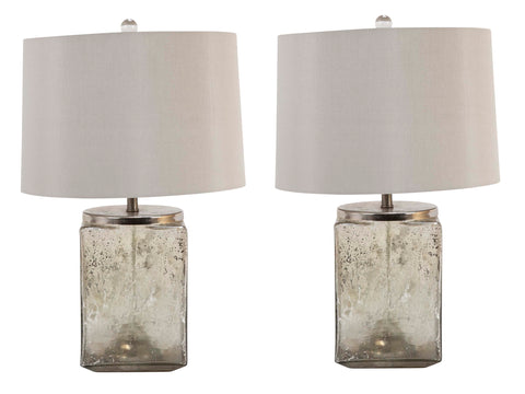 Pair of Contemporary Cube Shape Mercury Glass Lamps