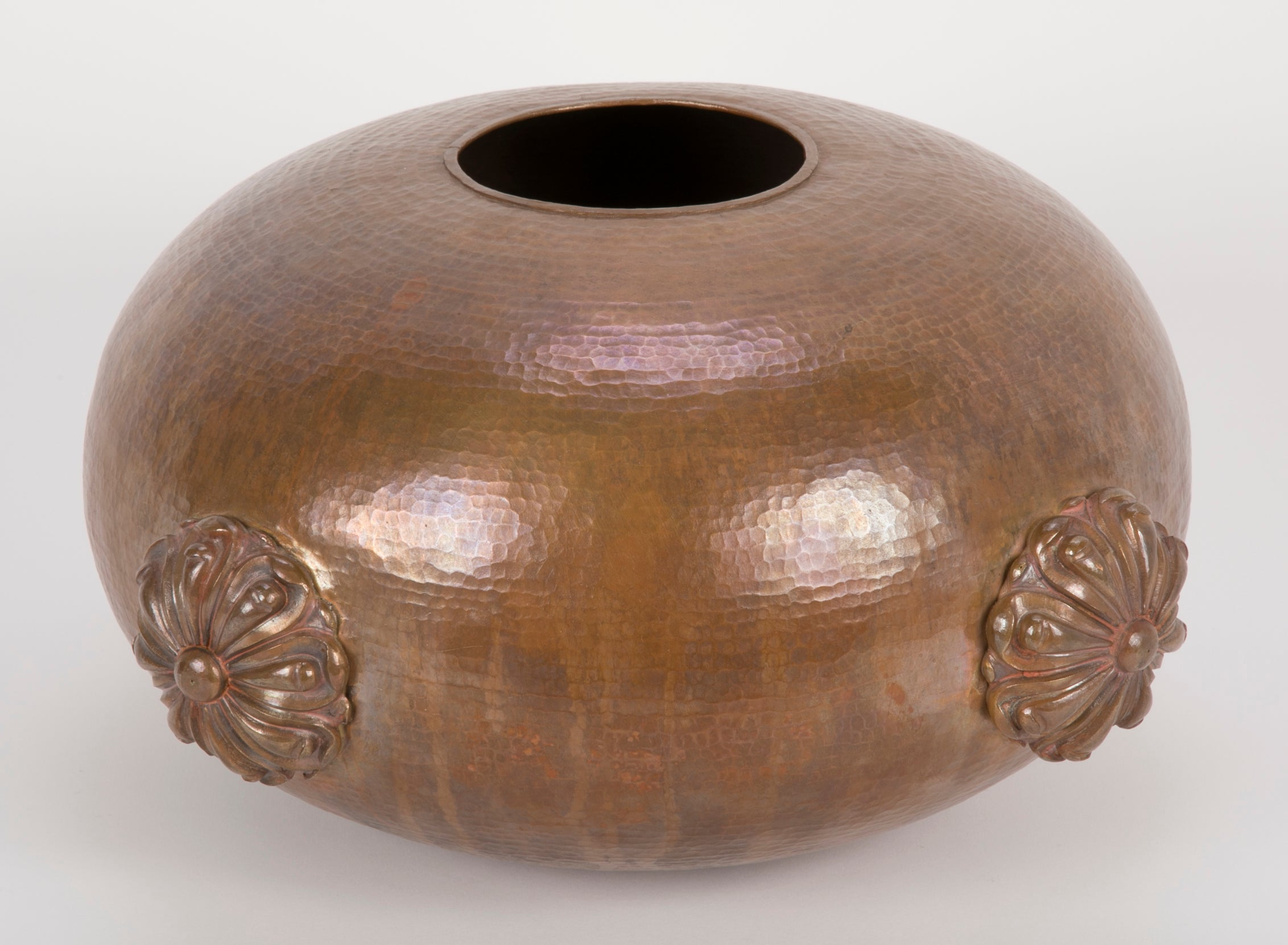 Round Repousse Copper Lotus Form Vase
