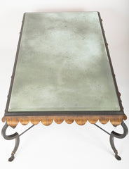 Gilt Iron Coffee Table with Custom Glass Top by Minton Spidell