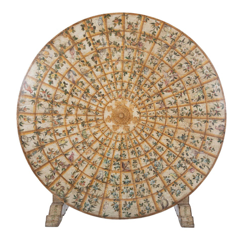 Large Continental Painted Wood Tilt-Top Table