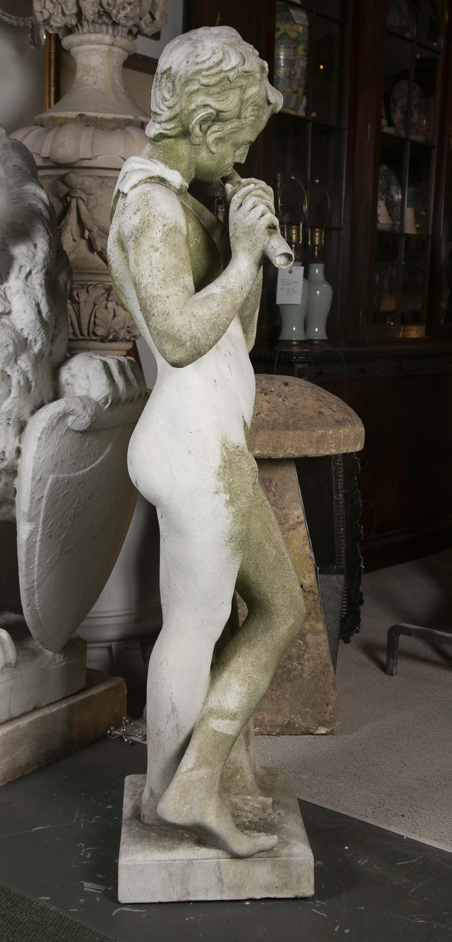 Italian Carved Carrara Marble Sculpture of a Boy