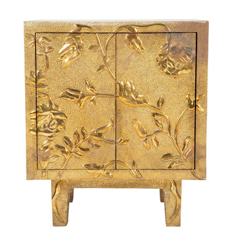 Hand Hammered Brass Nightstand with Floral Motif