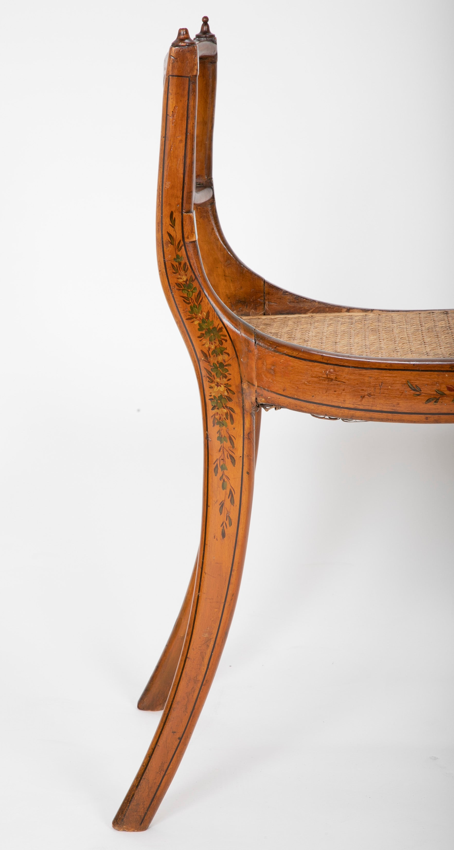 Regency Satinwood Floral Decorated Caned Seat Bench