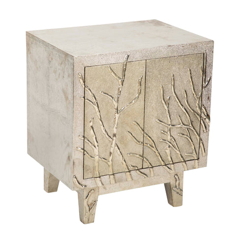 Hand Hammered White Metal Nightstand