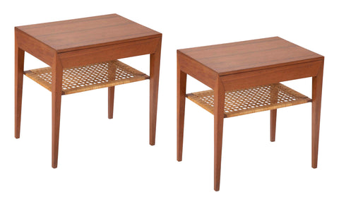 Pair of Severin Hansen Jr. Teak Bedside Tables with Rush Caned Shelf
