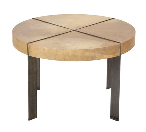 Segmented Round Coffee Table with Parchment Covered Top