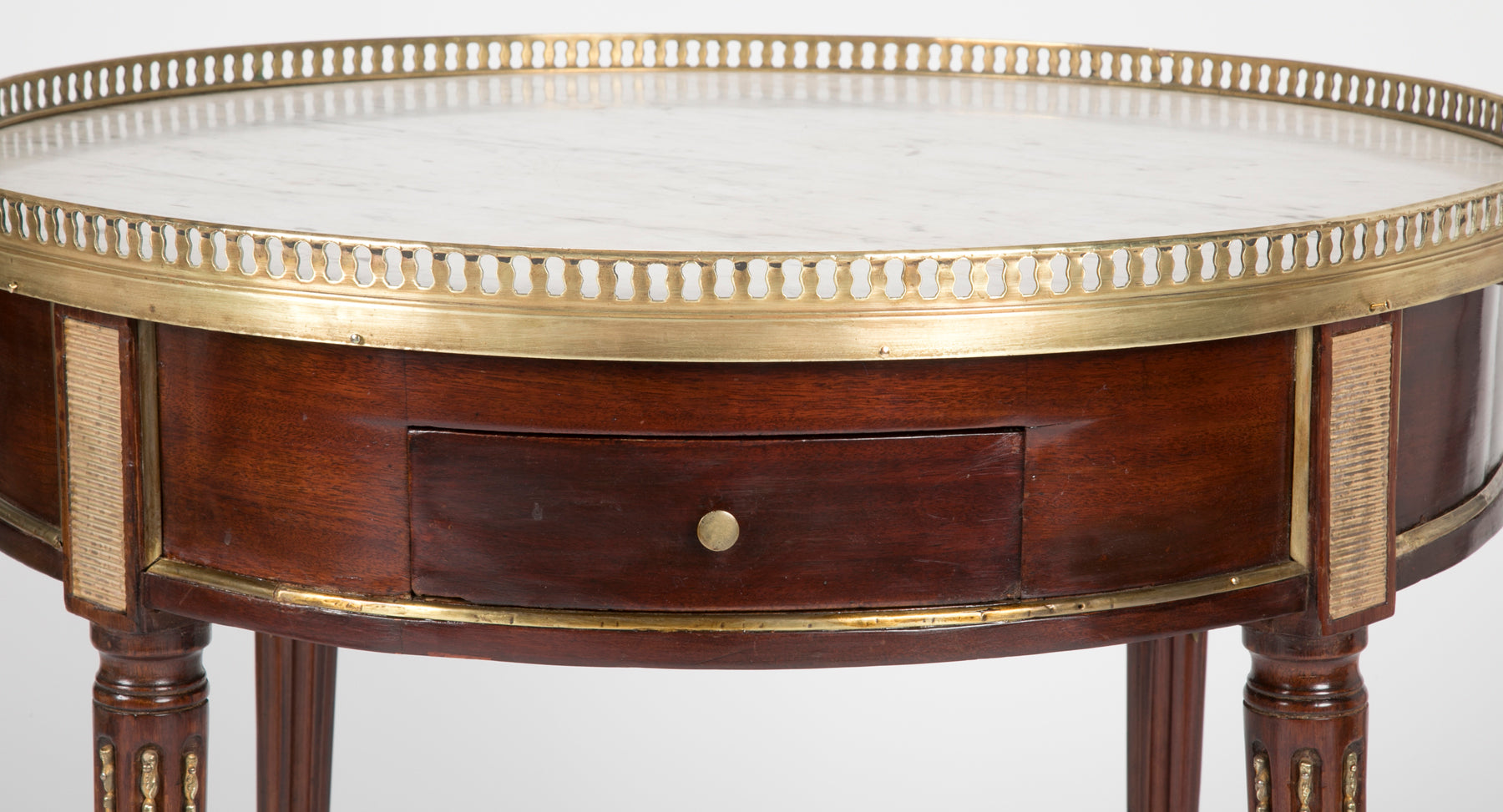 French Louis XVI Marble Top Bouillotte Table with Gallery