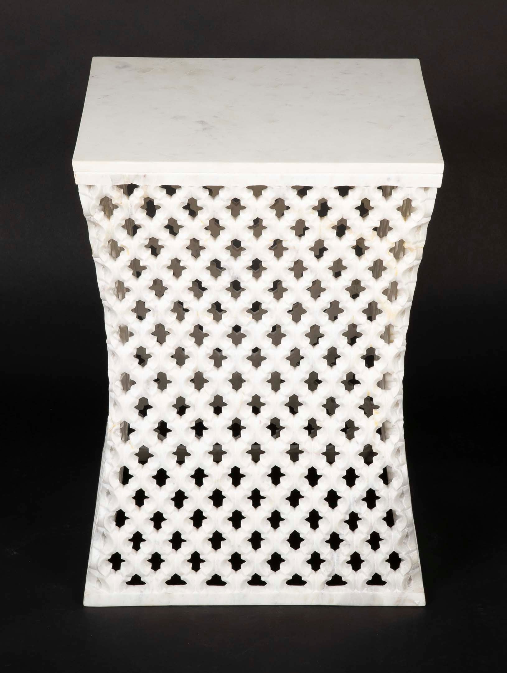 Hand-Carved Square Marble Side Table