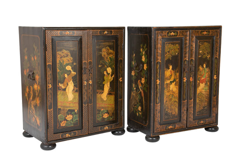 Pair of 'His & Her' Chinese Chinoiserie Two Door Low Cabinets