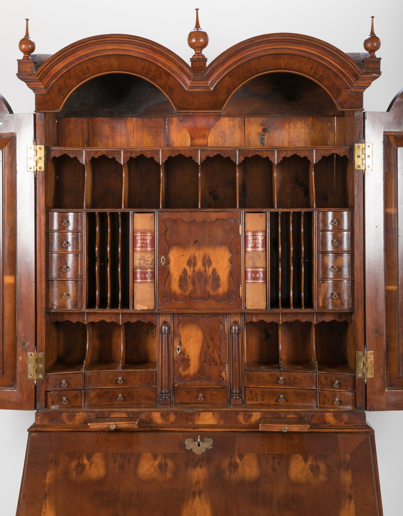 William & Mary Style Two Part Secretary Bookcase