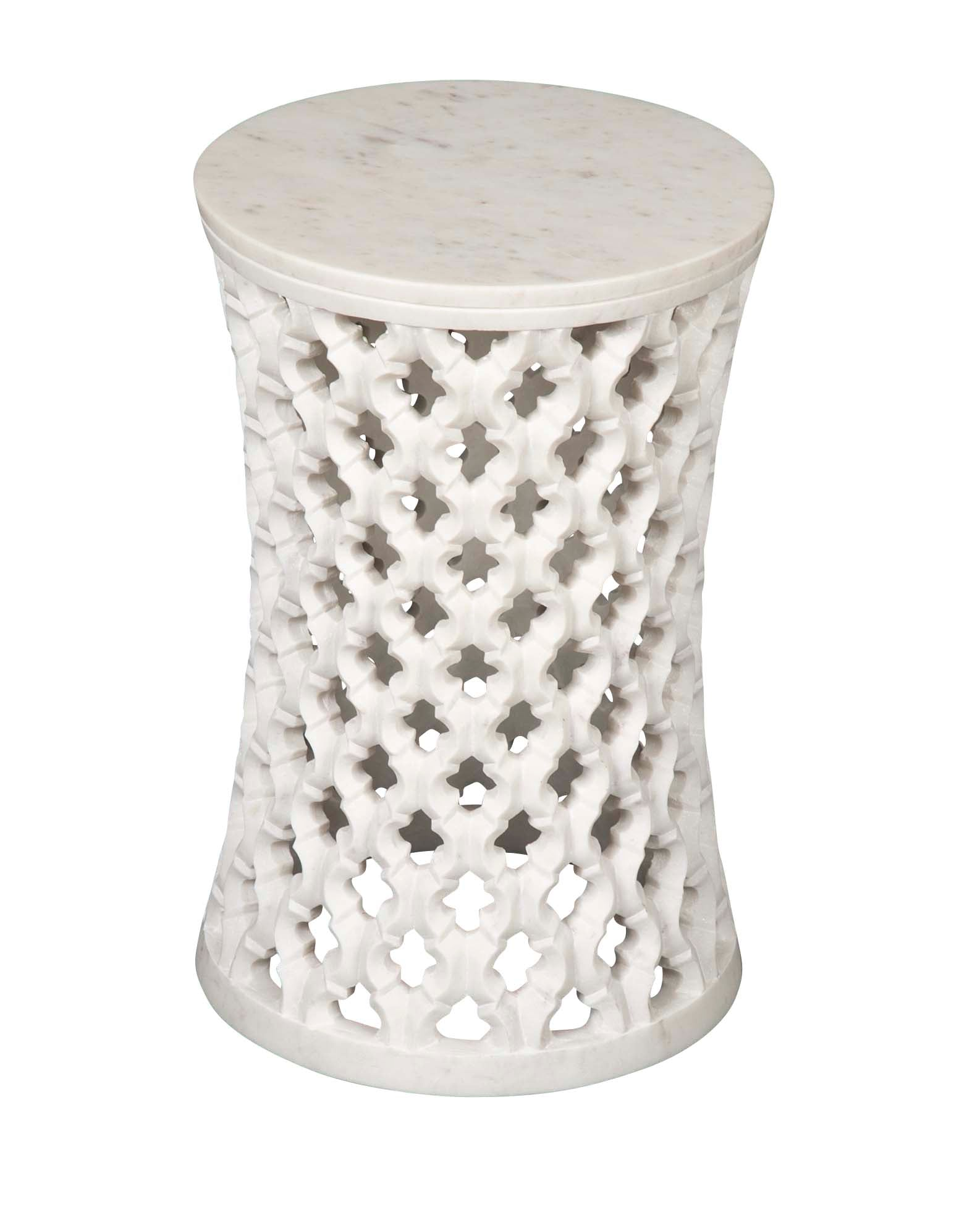 Hand Carved White Marble Side Table