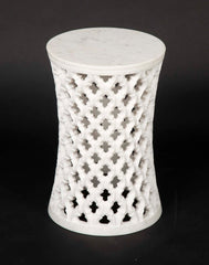Hand-Carved White Marble Side Table