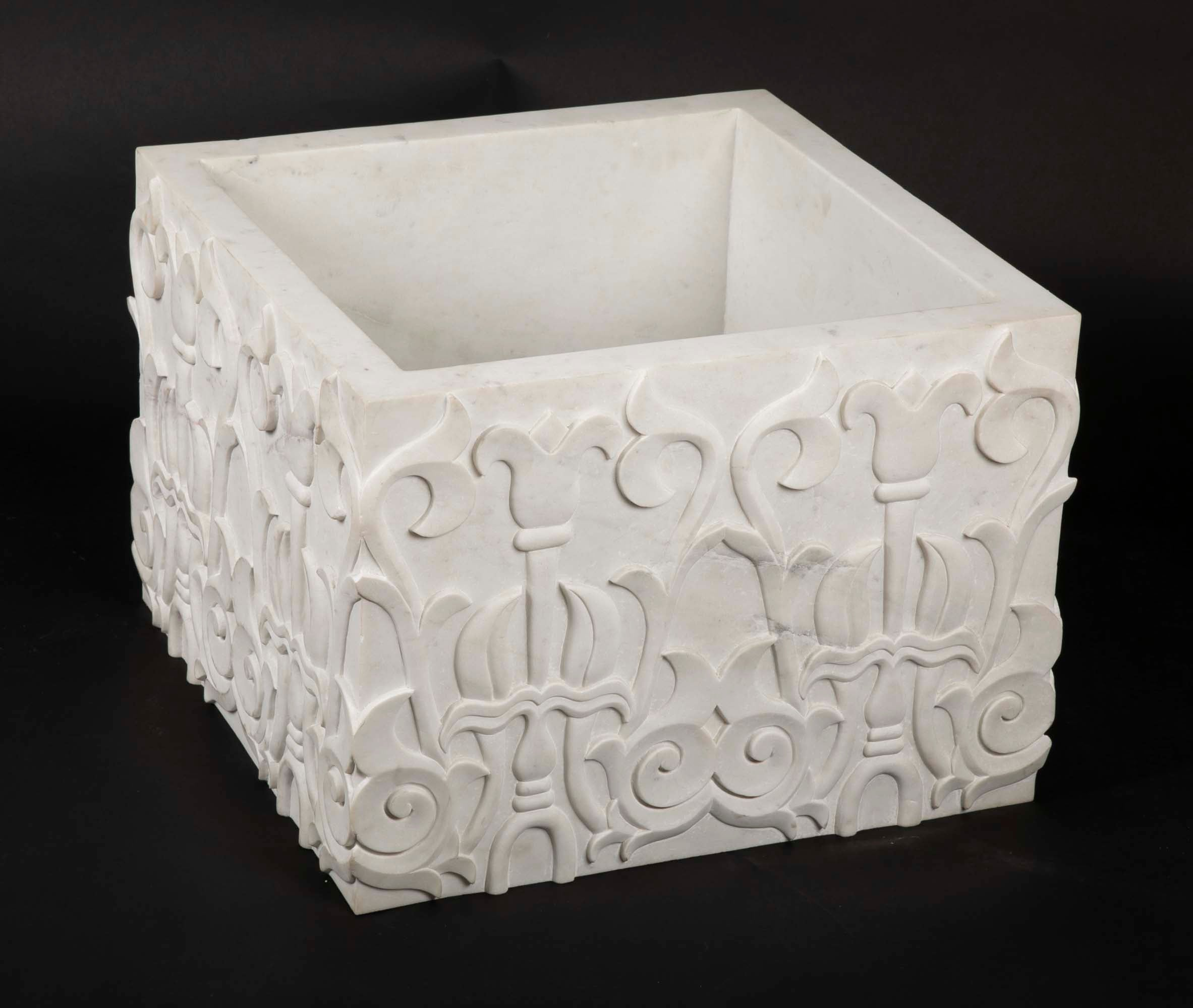 Hand-Carved Marble Table Base