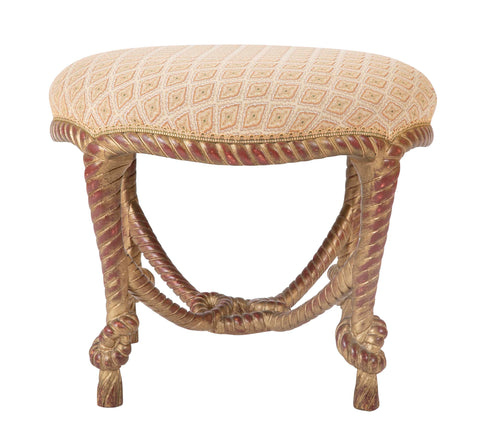 French Gilt Wood Rope Stool