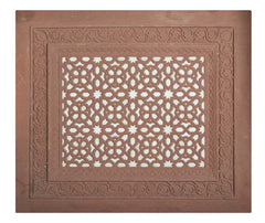 Red Sandstone & White Marble Panel in the Mughal Style