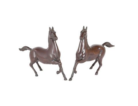 Pair of Early 20th Century Japanese Bronze Horses