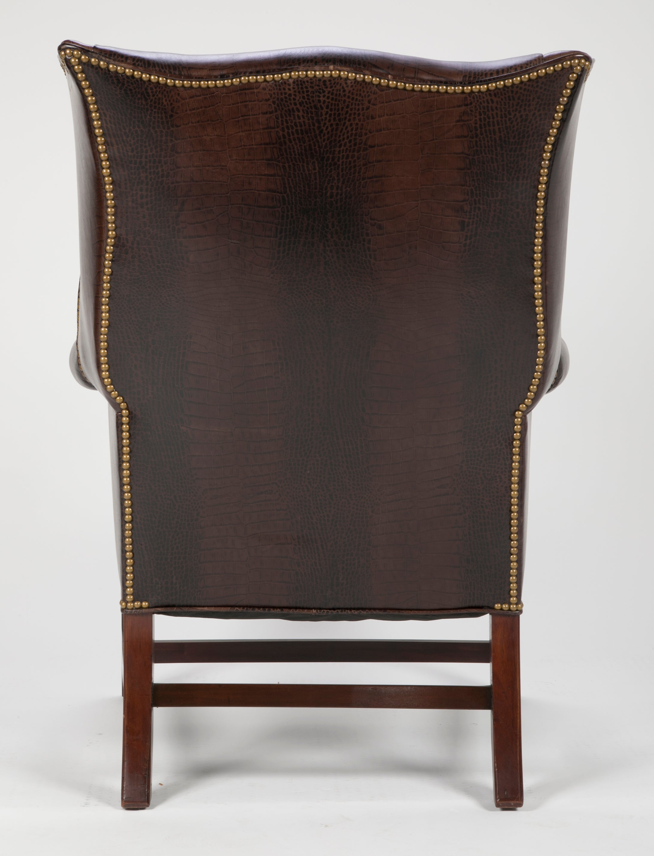 George III Mahogany Wing Chair with Leather Upholstery