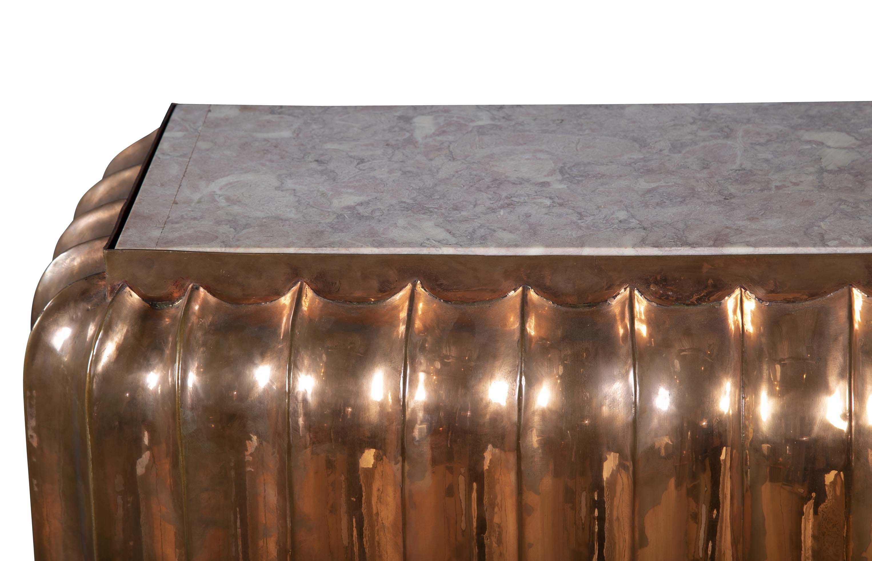Solid Copper Fireplace Surround with Pink Marble Top