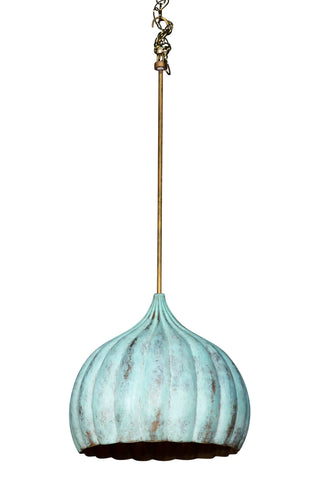 Mughal Brass Hanging Lantern with Verdi Gris Finish