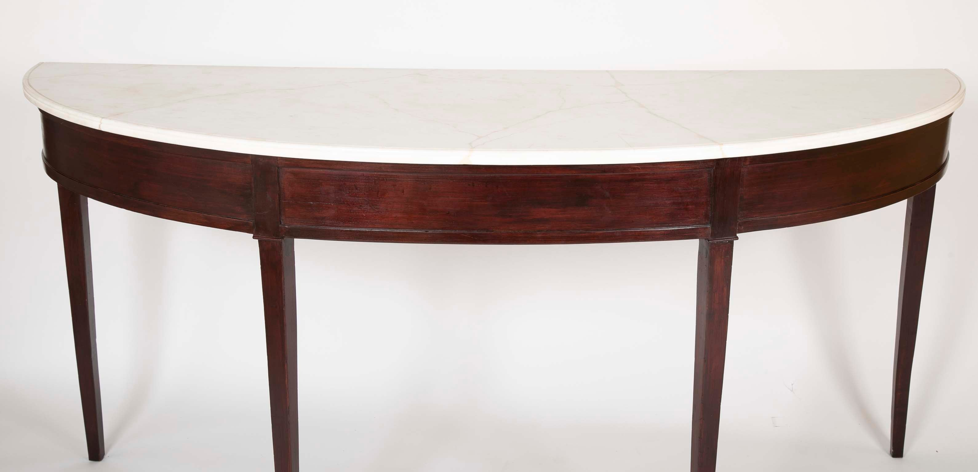 A Beautiful Marble Top Demi Lune Console Table