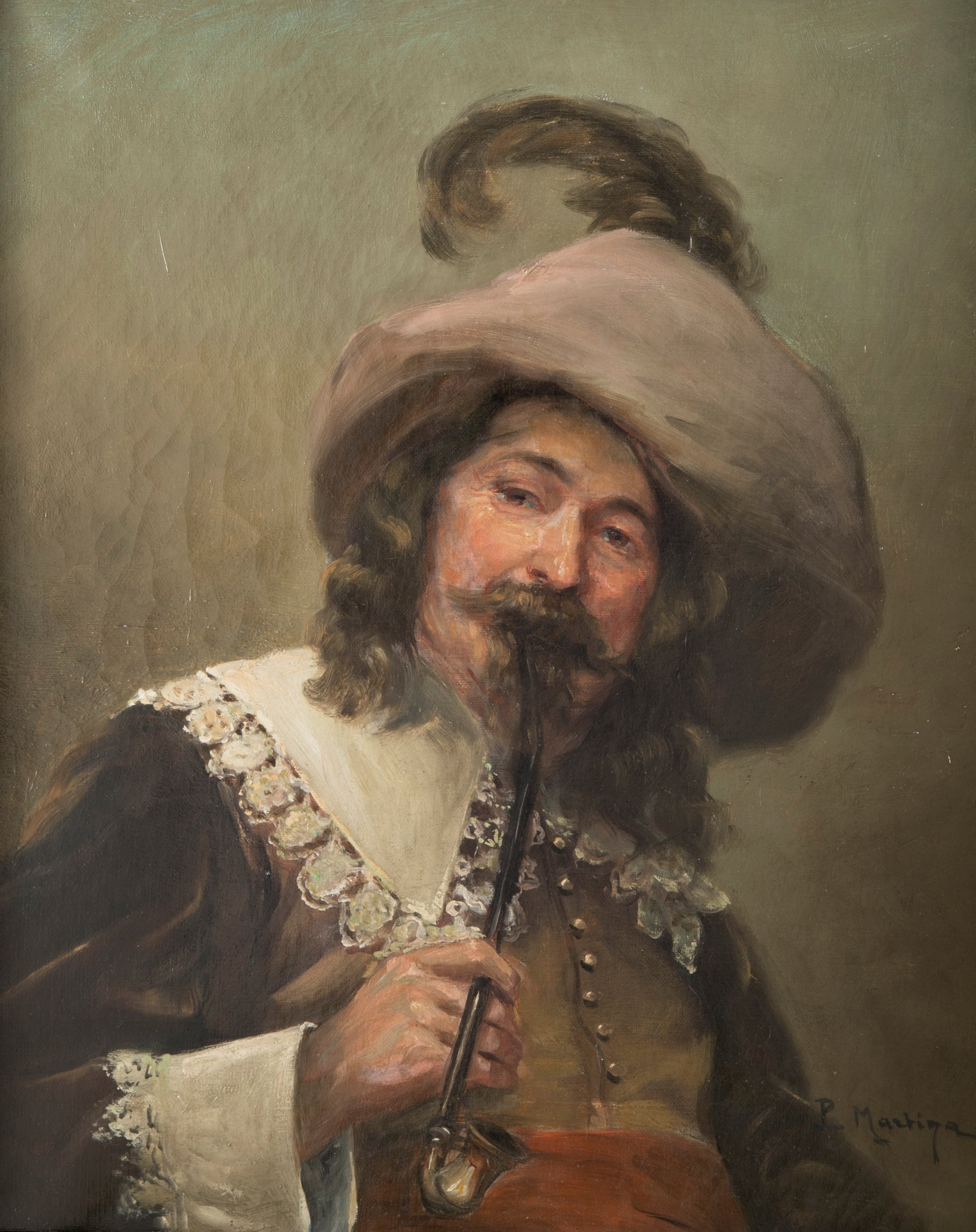 Oil on Canvas of a Cavalier, Signed Matziga