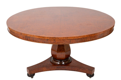 William IV Burlwood Circular Tilt-Top Center Table