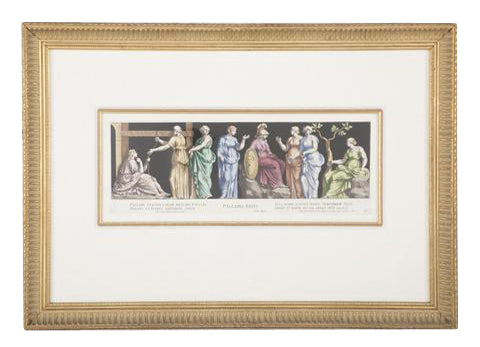 Set of Three Italian Hand Colored Engravings by Bertoli