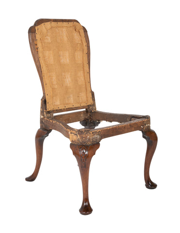 English Walnut Queen Anne Style Side Chair